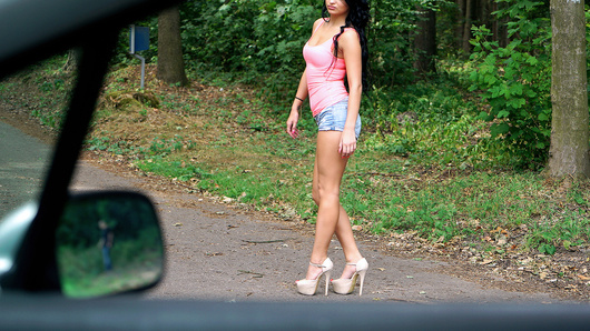 Wandering around in the forest is dangerous for a pretty gal like Daphne Klyde, so it's a good thing a stranger drove by. This dude asked for a little blowjob action, but he couldn't have known this Euro slut was ready to fuck him on the hood of his car!