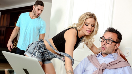 Keiran's son Jeffrey has invited Jessa Rhodes over to his house. He hopes to bang her, but Jessa seems more interested in Keiran. Old man Keiran wasn't born yesterday, he knows a horny slut when he sees one, and he knows that Jessa is only provoking Jeffrey to get herself a nice hard fucking. When Jeffrey proves incapable of delivering said fucking, Keiran steps in to ram his experienced cock into Jessa's hot and hungry mouth!
