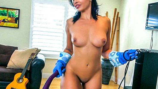 There is nothing better than piledriving your hot maid right after she's cleaned your house! This time around, I got this smoking hot Latina maid, one of the hottest girls I've ever seen. I couldn't wait to have her bouncing on my cock. First, I offered her a few bucks to clean in her underwear. From there it got easier, she was already almost naked, so just by flashing some cash I got this chick completely naked. I got her to clean my house in the nude! Soon, all I had to do was pull out the flesh snake. This chick was down to fuck, seconds after whipping out my dick, she was gargling it down her throat. I pounded Selena Santana's phat pussy all over my living room making a mess for her clean up again. This maid sure knows how to clean!