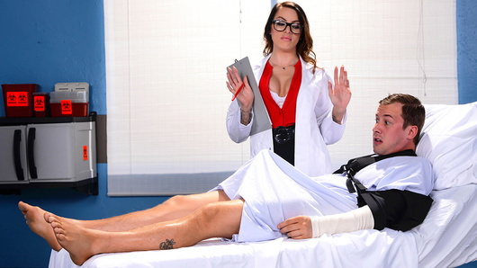 Jessy has been laid up in the hospital for weeks with two broken arms. Unable to jerk off, he's desperate for some relief. After inspecting his throbbing problem, Dr. Juelz Ventura takes pity on her patient and gives him the treatment he needs so badly.