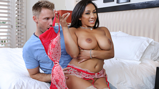 Priya Price finds out that her friend's boyfriend loves her tits! She throws him a bone and lets him play with them before fucking him!