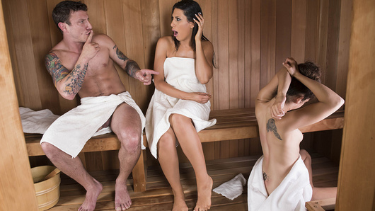 Pete is nervous about meeting his girlfriend's mom Makayla Cox for the first time. The sexy milf loves a good spa day, so she meets the young couple in the sauna for some casual conversation and relaxation. Everything is going smoothly until Makayla makes a move on her daughter's boyfriend! Turns out Makayla has a thing for younger guys, and can't resist playing with Pete's cock behind her daughter's back. Pete can't resist those big perfect tits, so once his girlfriend leaves the sauna, he lets Makayla do whatever she wants. That's one sneaky sauna mama!