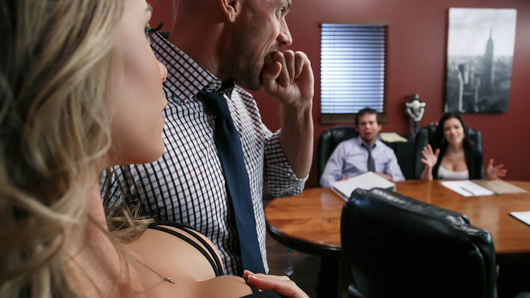 Office boss Nicole Aniston's afternoon masturbation session is interrupted when her employees occupy the conference room and threaten to form a union unless their demands are met. Irritable and horny at the same time, Nicole breaks up the meeting by fucking and sucking the rabble rousing leader Johnny Sins. The easiest way to bust this union is to make sure Johnny busts a nut in her beautiful bitchy boss face!