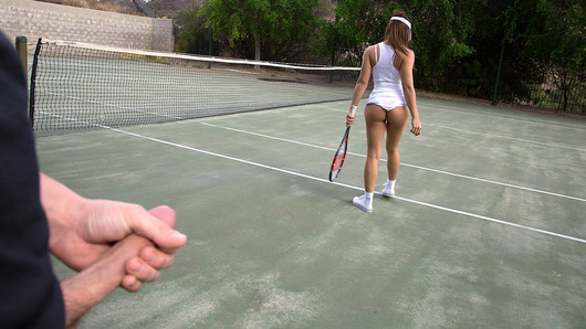 Sara Luvv didn't even want to take the stupid tennis lesson in the first place, so when her man starts grabbing on that cute little Latina booty poking out under her skirt, this naughty spinner drops the racket and goes straight for the dick!