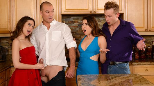 Melissa Moore and Riley Reid are the sexiest sluts on the block who always crave a new cock. Melissa and Riley have been best friends ever since they started putting out, so this pair of hotties have tons of sex-perience! When these whoring wives decide to swap husbands at their next dinner party, Bill Bailey and Sean Lawless are in for a surprise, since they have no idea what these horny nymphos have cooked up for the night! Watch as the ladies seduce their husbands into a foursome of epic fucking! After all, it's not just a dinner date, it's dinner for sluts!
