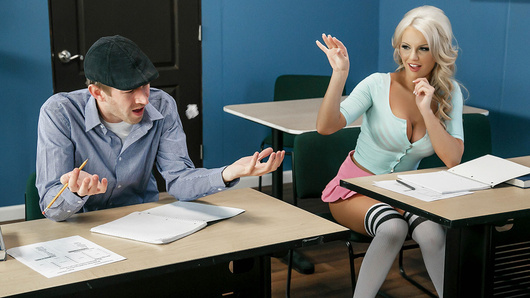 Kenzie Taylor has landed herself and Danny D in detention. And rather than wait out the hour by studying, she wants to have some naughty fun! She teases Danny by flashing her big tits and strokes his dick under the desk. Danny tries to ignore her, but he can't resist a horny schoolgirl like Kenzie. Once the teacher is gone, Kenzie shows off her pretty bush and lets Danny suck on those juicy melons...