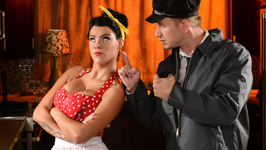 The bored, sexy housewife Peta Jensen is tired of her husband, Bill Bailey, and his inability to follow through with what he says. She gets dripping wet at the thought of him fucking her pussy raw. Peta's just craving to be bent over the kitchen table and fucked nice and rough. But will her husband be able to give her what she wants?
