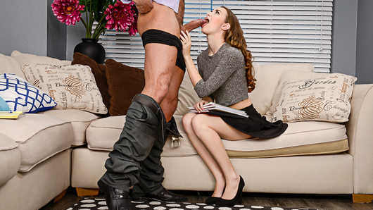 Tali Dova stops by her professor's house after dark, because she needs help studying. Her professor finds out that what she really needs help with is stuffing her pussy, and he's willing to help with that as well.