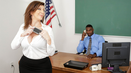 Teacher Sara Jay has been busted for having an affair with her student, and Principal Jax Slayher is not happy. He demands that Sara end the relationship immediately. However, when her student refuses to accept being dumped, Sara and Jax decide to show him it's over by sending him selfies of their teacher on principal fuck session.