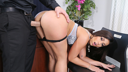 JMac convinces his co-worker, Kelsi Monroe, to fuck him in his boss' office while his boss is taking a nap.