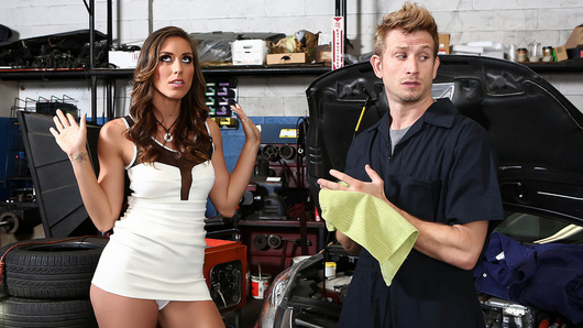 Rilynn Rae wants her car fixed, but she's an impatient bitch with attitude to spare. Luckily for her, mechanics Mr. Pete and Bill Bailey recognize a horny slut when they see one, so when Rilynn tries to show them up in their own garage, they give her the tag team fucking she so richly deserves.