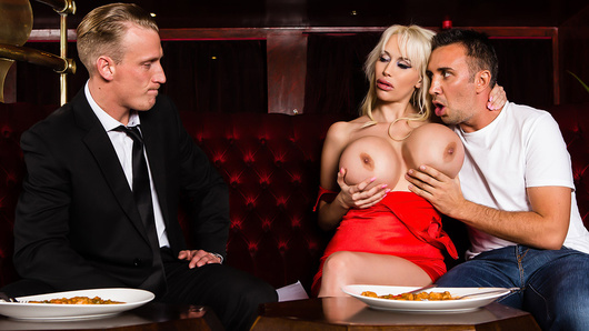 Sandra Star has just finished a lovely dinner with her husband when she's about to order dessert and he serves her with divorce papers! Shocked and appalled, Sandra decides to extract revenge on her no good, soon-to-be-ex-husband by seducing their waiter, the unsuspecting Keiran Lee!