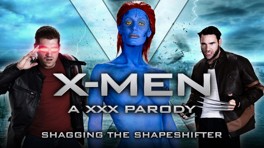 The sexy Mystique (a.k.a. Nicole Aniston) battles with brave X-Men Wolverine (Charles Dera) and Cyclops (Xander Corvus) before taking a double dose of mutant cock in this XXX porn parody!