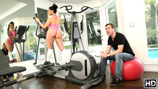We got to spend some time with the incredibly hot Bella Reese while she did her work out. She was on the treadmill while her sweet ass was moving up and down when I let her know that Jessy was around and could give her a better work out. She, of course, was all about it and took his dick right out to start stuffing it down her throat. You have to see these amazing moves she busted out on the exercise ball. Bella does it all and does not disappoint for a moment!