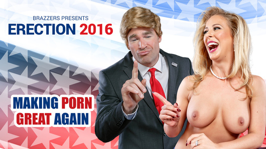 Welcome to Erection 2016! In this episode, presidential candidates Hillary Clayton (Cherie Deville) and Donald Drumpf (Charles Dera) square off in a televised debate. Soon their back and forth devolves into a firestorm of personal insults, and when Hillary challenges Drumpf's manhood, the small-handed billionaire whips out his manhood and rams it down her throat, giving Hillary the most enjoyably thorough dicking she's had in years!