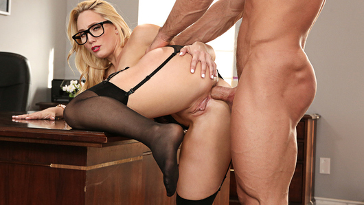 AJ Applegate has a buttplug in her desk. Her boss finds it and she decides to show him what she does with it...