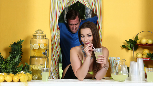 The Lemonade Stand is back and coming to a corner near you! Today's lemonade girl is the mouth watering Dani Daniels. There's no doubt her bubbly personality, pretty face, and juicy booty, will draw quite a crowd. Will she be able to serve lemonade to thirsty customers while Jessy plays with her pussy?
