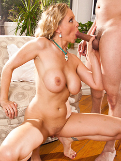 Julia Ann sucking and fucking him in the living room