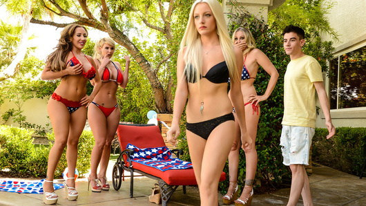 Jordi is new to America and he already has an American girlfriend! However, when his girlfriend brings Jordi to her mother Julia Ann's 4th of July BBQ, Julia's friends Phoenix Marie and Richelle Ryan want a piece of Jordi's formidable Spanish sausage!
