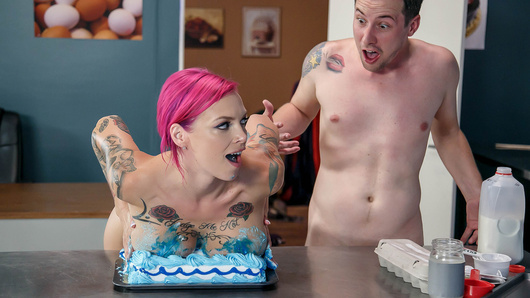 Easily distracted and extra horny student Jessy Jones makes plans for some after school help with curvy home economics teacher, Ms. Anna Bell Peaks, for a baking project. One thing Jessy does get is the one-on-one assistance that'll make him shoot for the cookie-cutting stars!