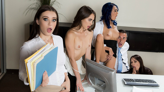 It's the last day of internships at Mr. Lee's office, and he has the opportunity to give one of his hardworking interns a full-time position. But who will he pick: Janice Griffith, Aidra Fox, Lana Rhoades or Riley Reid? This won't be an easy decision...