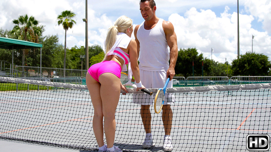Cristi Ann was challenged to a tennis match by Johnny after she made fun of the old rackets he inherited. The wager was simple, if she wins, she gets a lobster and steak dinner. If he wins, he gets a blowjob with all the extra's. They didn't play for long because it was way too hot outside, so as soon as Johnny scored first in a quick sudden death match, we rushed over to the house for her to make good on her bet. Sucking his cock only got Cristi horny, so things escalated pretty quickly. She was such a good sport about going all the way and actually fucking Johnny that we decided to treat her to dinner anyway.