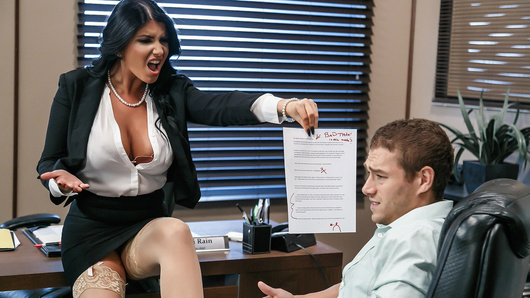 Romi Rain rides her staff hard. Some can't handle this bitchy boss, but Xander is more than willing to do everything she says. If she wants her pussy licked, he's there. If she wants her big tits worshipped, he's there. If she wants some cock, he's definitely there. Anything to keep this hot boss happy!