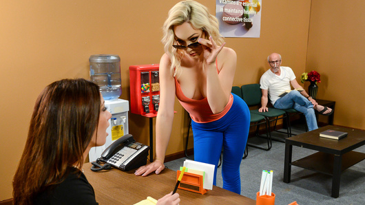 Lily LaBeau is waiting to see her doctor, Michael Vegas. As the time passes by however, she grows more and more impatient. All Lily wants is for her wet pussy to be fucked, but when she's tired of waiting around for her special treatment, she decides to get her doctor's attention by whipping out her beautiful boobs, which causes a commotion in the waiting room! Soon, Lily gets to be seen by Dr. Vegas who gives her a prescription, for his hard cock to suck and fuck, that is!
