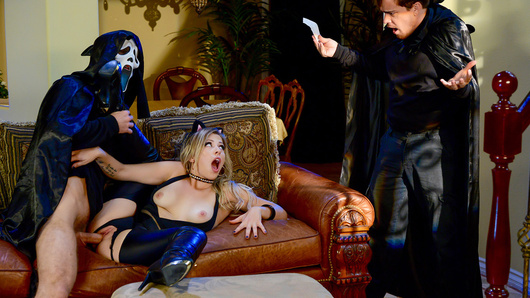 Zoey Monroe and her boyfriend decide to attend Michael's Halloween party. But when Zoey and her boyfriend arrive, they're the only guests at the party! Feeling horny as fuck in her sexy kitten costume, Zoey is in for a trick and treat this Halloween... by sucking and fucking Michael's big dick behind her boyfriend's back!