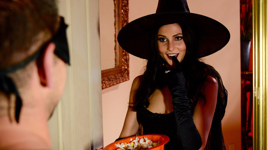 Johnny Castle may be a little old for trick or treating but that doesn't mean that Ariana Marie will deny him some sugar, even if her husband is right in the next room!
