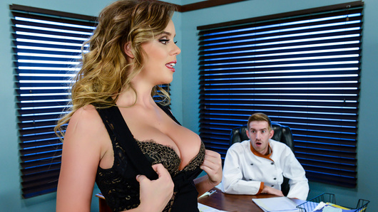 Alexis Adams is called into her manager's office because she's just not working out as a waitress. Danny says she's not getting any better and her work outfit is too revealing. With her job on the line, Alexis proves to Danny that big tits can get them both big tips!