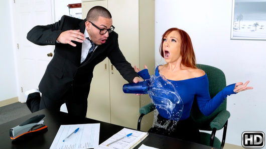 Dani Jensen was at her office preparing for an important meeting, when she asked her incompetent assistant to bring her water. The clutz accidentally spilled the cup of water all over Dani's blouse. After scolding her apologetic assistant, Dani went to the restroom to dry off. Her assistant, Pete, cleaned the very expensive desk and then went to find his boss. He unknowingly walked in on Dani while she had her blouse off. Dani spotted her employee and chastised him. Pete was petrified and willing to do anything to keep his job, so Dani took him to her office and told him to eat her pussy. Soon after tongue-fucking his boss, Pete fucked her tight pink pussy all over the desk. Dani sucked the jizz out of her employee's cock and then told him to clean the office.