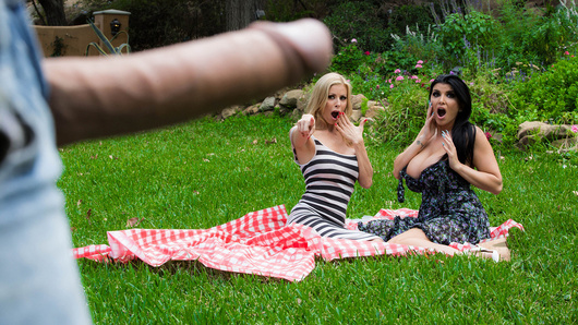 Two hot mommies are enjoying an afternoon in the park when their fun is suddenly brought to a halt. Pervy hobo Keiran is having the time of his life spying on Alexis Fawx and Romi Rain from behind a tree, and he can't stop fondling himself, even when they confront him! As soon as the two hotties get a glimpse at how big Keiran's cock is, they decide to take matters into their own hands for the good of the park, and they fuck Keiran until he sprays a huge load all over them.