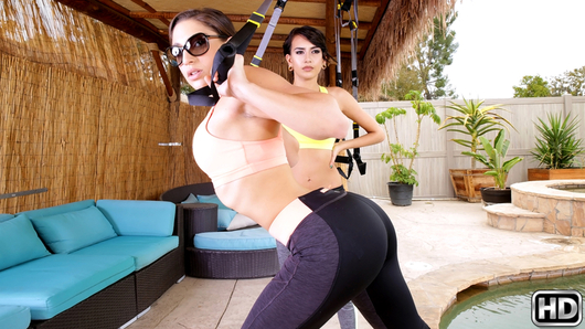 Janice Griffith and Abella Danger were working out in their backyard when they saw their neighbor, Charles, spying on them from the bushes. They quickly ambushed him and pulled him out. The girls decided to punish him by smothering his face with their nice firm butts. Soon after, they took him inside and double-teamed his cock. They girls were absolutely relentless. Janice and Abella took Charles' hard cock for unforgettable, must-see, ride!