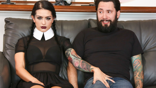 In this adult Wednesday Addams sex fantasy, Katrina Jade features as your favorite creepy goth girl! Today, she takes her Uber driver Tommy Pistol on a journey down her very long driveway... It's only when they reach their final destination that Tommy realizes Katrina's ride hasn't yet ended, and his only choice was coming inside at her demand! She told him to eat her pussy, and while scared, he knew what must be done! Besides, if he didn't make her cum like the devil by fucking the abyss right out of her, he might find himself in danger...