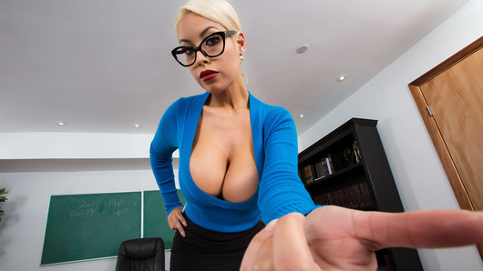 Busty professor Bridgette B is waiting for you to finish your exam. But, like the dirty pervert you are, you can't finish because you're distracted by her tempting titties! Will Bridgette realize that her tits are distracting? Will Ms. B let you finish, by busting a nut all over her huge boobs?