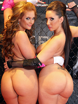 Kelly Divine and Phoenix Marie share the referee's cock