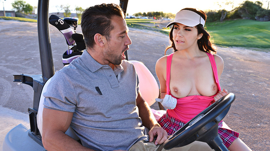 Forget about the hole-in-one innuendo, golf pro Valentina Nappi is way past that! She doesn't simply want to be fucked after giving a lesson to Johnny, she wants to be fucked in the ass! Her time is precious, and if she's gonna be giving her tips to some sandbagger, he'd most definitely be giving his tip and a whole lot more! Now, Johnny may be married, but he's no dummy, he wants to improve his score, so he needs to pony up and score with his hot Italian teacher by giving her anal sex with his one-wood! Valentina's big natural tits and big, bubble butt are a trap no golfer can elude!