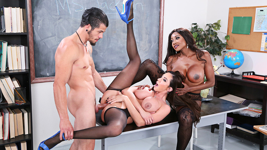 Ariella Ferrera gets called into the college because her idiot stepson Bambino did something stupid in class, he pulled his big dick out on a dare! His professor, Diamond Jackson, has a talk with Ariella and him about all this, and she cautions them that she may need to involve the dean. She has her student show his stepmom exactly what he did, but nobody can believe how massive his cock is when he wriggles it out of his pants! Professor Jackson and Ariella confer in private and make a determination, they're willing to overlook things if Bambino fucks them in a professor-stepmom threesome! Do you think he'd dare?