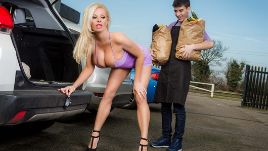 Michelle Thorne has finished her grocery shopping, and one of the store's employees kindly offers to help carry her bags to her car. Jordi is expecting some money in exchange for his kindness, only to his surprise this horny MILF wants him to give her the tip, of his dick that is! Will Michelle be able to seduce Jordi into coming home with her?