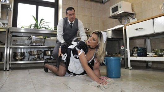 Caution! Wet floor and wet pussy for a hot housekeeper, starring Klarisa Leone! (Video duration: 21 minutes)