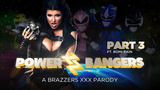 The evil horny space witch (a.k.a. Romi Rain) wants a piece of Power Banger cock, and she's got the tits to convince him to join her in world domination! How will the Bangers handle this one?