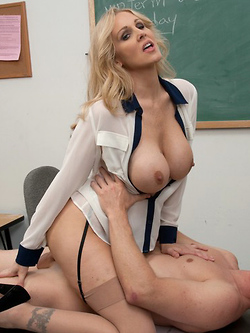 Julia Ann orders her student to jam his cock inside her pussy