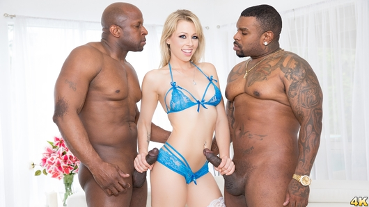 Zoey Monroe is blacked from both ends, and that's just the beginning. Beautiful blonde Zoey shows off her perfect body for these big, hungry studs, and she knows exactly what they are hungry for. She immediately gets to work on these big black cocks. Zoey gets down and sucks both of those massive dicks, and she's loving it, slobbering all over and giving an amazing double duty blowjob! But these dudes want more than just her mouth, and Zoey is definitively on the same page. She takes those humongous black cocks in her sweet, pink pussy and her tiny little asshole, at the same time. This double penetration pro can handle it because it turns her on so much. She cums hard on their dark, veiny cocks, especially when they rock her pussy and asshole simultaneously.