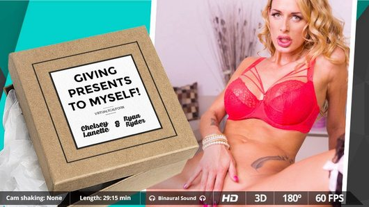 Today the hottest MILF of England lands in Virtual Real Porn! In our new 3D experience, Chelsey Lanette is you girlfriend and you surprise her with three sexy pair of stockings. You don't know if she likes stockings and sincerely, you don't care! You only want her to unroll them in her long legs and then fuck her until she moan like a crazy. Don't feel bad for being a little bit selfish. At the end, you give him a present and she will give you the best sex you've ever have. Everybody's happy! So get your VR headset and enjoy this VR porn scene in 180 degrees FOV and our awesome Binaural Sound in your Smartphone Cardboard, Samsung Gear VR, Oculus Rift and HTC Vive!