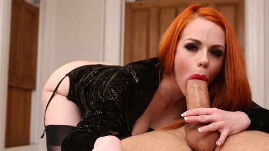 Redhead Ella Hughes looks supersexy wearing black sheer stockings. When her dat arrives, they don't even make it to the bedoom, they suck and fuck in the living room until he jizzes on her hairy snatch! (Video duration: 12 minutes)