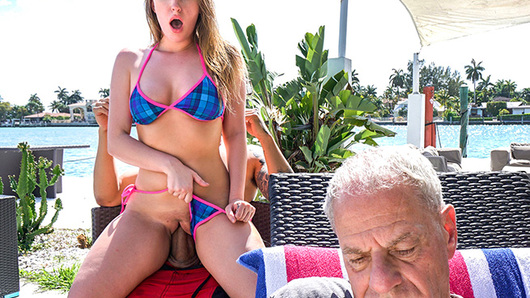 Not only does Harley Jade have one of the biggest asses out there, she's also one of the horniest chicks out there. Harley's grandpa and his neighbor Bruno were hanging out by the BBQ grill when she approached them and began playing with Bruno's junk without her grandpa noticing. She then slid behind the counter, pulled out his dick, and started sucking it. All of this was happening as her granddad was on the other side grilling. From there they moved over to the sun bathing chairs. Here, Harley started riding Bruno as her grandpa sat in front reading a newspaper. Once her grandfather left to go nap, the real fun started. Bruno slammed Harley's asshole in several different positions. He pounded that ass until busting a giant load all over her face and mouth!