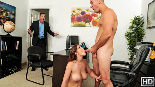 It's a busy day at the office for Sean Lawless as he is juggling a lot of high priority tasks. Luckily for him, his new busty secretary April Dawn arrives for her first day on the job and is eager to help her boss take a load off. April really wants to impress her new boss and dresses to prove that she means business... by wearing no underwear underneath her tight dress! April sits up on Sean's desk, teasing her ample cleavage to him while spreading her legs and showing off her pretty snatch! April is looking forward to getting busy on her first day, so she pulls out her massive tits and gives Sean a show of what he can expect from her on a daily basis! While Sean just wants to clear his desk and fuck this big boob slut's brains out, he's got some business affairs to take care of. But will April, and her huge tits, become a distraction or will Mr. Lawless realize how to mix business with pleasure?