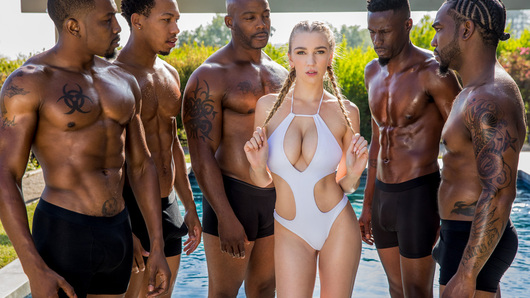 Kendra Sunderland just broke up with her boyfriend. She's open to having some fun. She meets Jason and gets invited over to his place to hang out by the pool. Little did she know that 4 other guys were there, and when things get heated, she can't leave anyone out...
