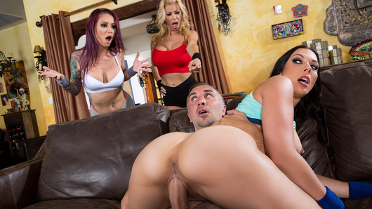Keiran has got himself into a mess. His new hookup app keeps matching him up with beautiful women, but he can't keep track of them all. When he's out for a run with Monique Alexander, Rachel Starr catches him red handed. To make matters worse, Alexis Fawx shows up and the chase is on! Rachel isn't one to let a little competition get in the way of a hard dick and starts slurpin' down. Alexis and Monique finally catch up and aren't giving up their dream dick either. What better way to settle this than a free-for-all fuckfest?